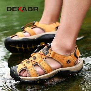 Image 5 - DEKABR جلد طبيعي الصنادل لينة في الهواء الطلق حذاء كاجوال الرجال العلامة التجارية الصيف الأحذية الجديدة كبيرة الحجم 38 48 رجل الموضة الصنادل