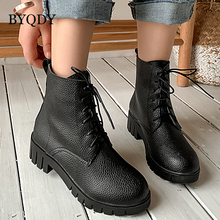 BYQDY New Thick High Heels Autumn Winter Ankle Boots Med Block Heel Boot Lace-Up Platform Shoes Woman Footwear  Plus Szie 34-43