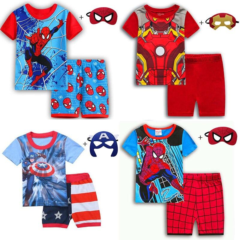 Kids Boys Girls Clothes Baby Pajamas Summer Short Sleeved Set Cartoon Spiderman Children Sleepwear Christmas Birthday Party Gift