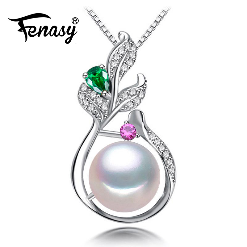 FENASY 925 Sterling Silver Bohemian Pendant With Pearl Jewelry Boho Jewelry Custom Natural Freshwater Pearl Necklace For Women