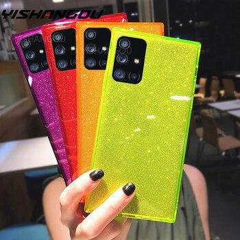 Square Fluorescent Glitter Phone Case For Samsung S20 FE Plus Note 20 Ultra S10 A71 A51 A50 A70 S21 Ultra FE A52 A72 Soft Cover 1