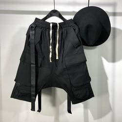 Мужские повседневные короткие шаровары Owen Seak, черные свободные уличные спортивные штаны в готическом стиле, в стиле хип-хоп, для лета