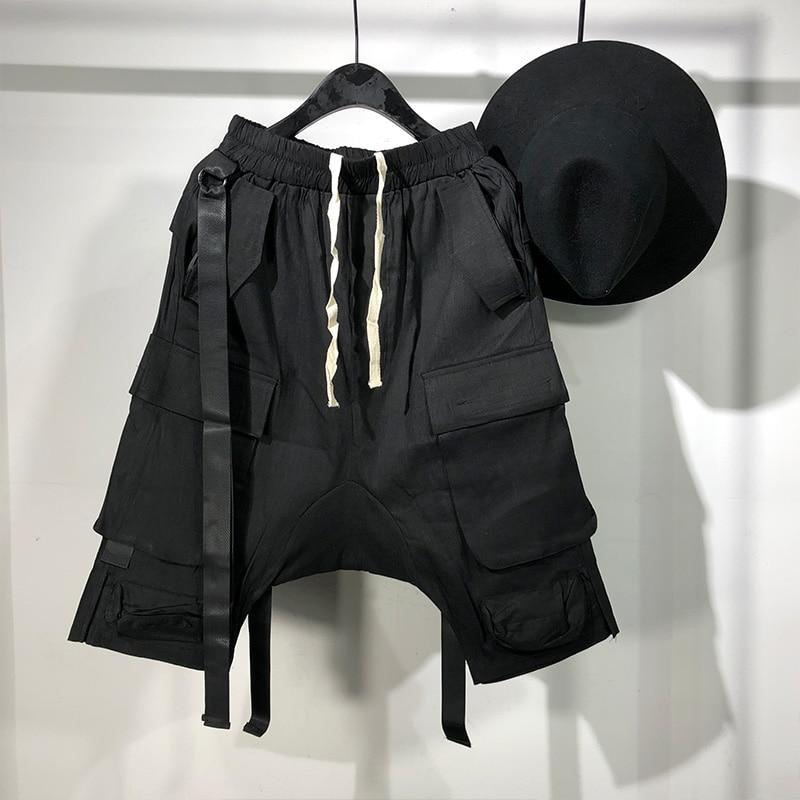 Мужские повседневные шорты-шаровары Owen Seak, готические спортивные штаны в стиле хип-хоп, летние уличные свободные черные шорты
