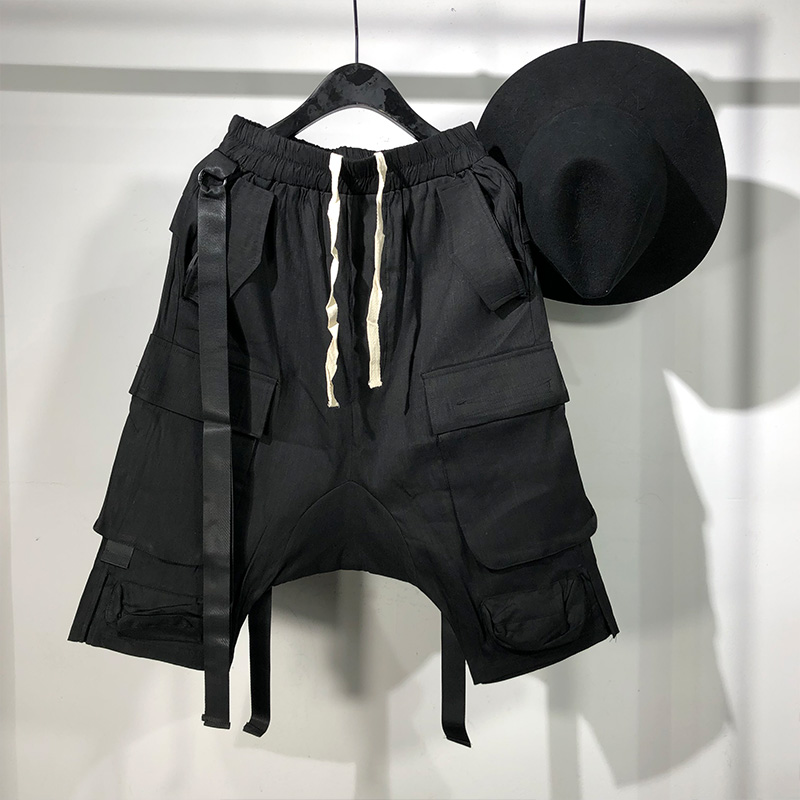 Owen Seak Men Casual Short Harem Gothic High Street Hip Hop Men's Cross Sweatpants Summer Streetwear Pant Men Loose Black Short