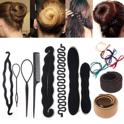 Hair Braiding Braider Tools Black Magic Sponge Clip Foam Bun Curler Hairstyle Twist Maker Tool Hairpin Hair Accesories for Women