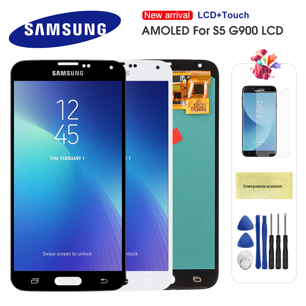 Original S5 LCD For Samsung Galaxy S5 I9600 G900 G900A G900F LCD Display Touch Screen Assembly Replacement Super AMOLED For S5(China)
