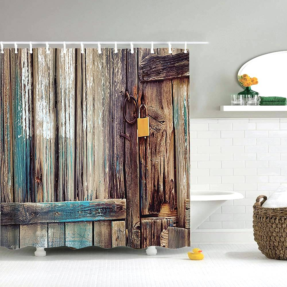Dafield Fabric Rustic Vintage Old Wooden Door Decorations Bathroom Polyester Waterproof Washable Wood Door Shower Curtain-in Shower Curtains from Home & Garden