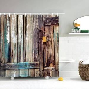 Image 1 - Dafield Fabric Rustic Vintage Old Wooden Door Decorations Bathroom Polyester Waterproof Washable Wood Door Shower Curtain