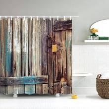 Dafield tecido rústico do vintage antigo decorações de porta de madeira do banheiro poliéster lavável à prova dwaterproof água cortina de chuveiro