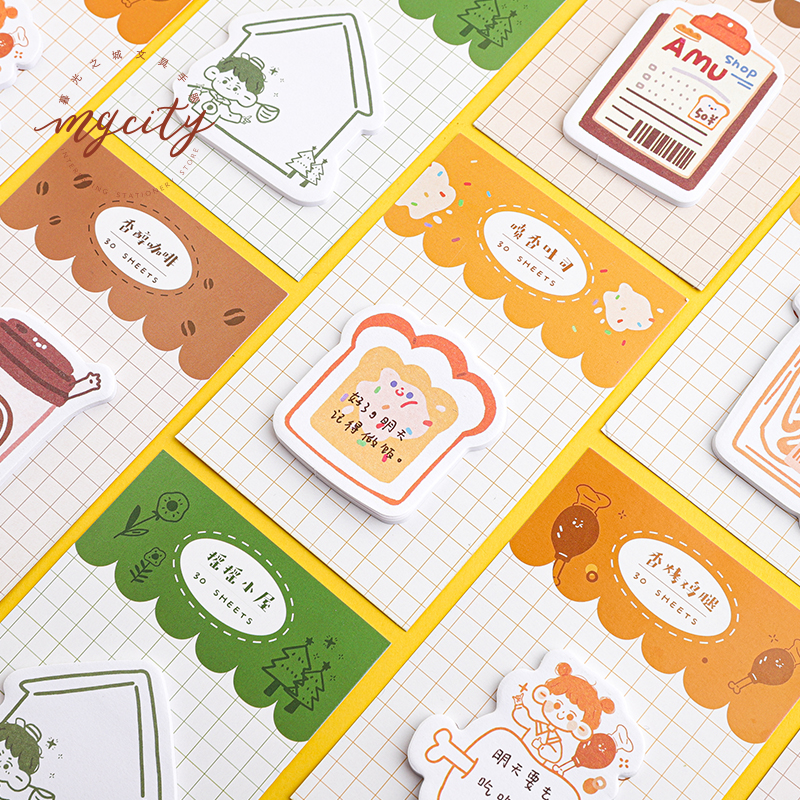 30sheets/pack Creative Memo Pad Yummy Bread Coffee Sticky Notes Kawaii Stationery School Supplies Paper Sticker