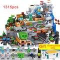 1315 шт маленькая версия Совместимость 21137 мой мир с Multifuncational строительные блоки стол горный пещера цифры Кирпичи Игрушки