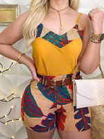 2020 Summer Women Elegant Vacation Leisure Suit Sets Female Holiday Spaghetti Strap V-Neck Print Top & Short Sets