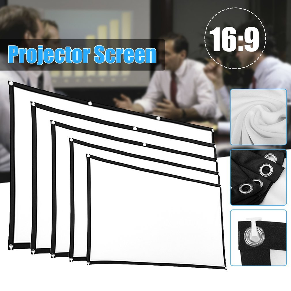 Portable Foldable Movie Projector Screen 16:9 Projection HD Home Theater Screen For Party Meeting Public Display 120 Inch