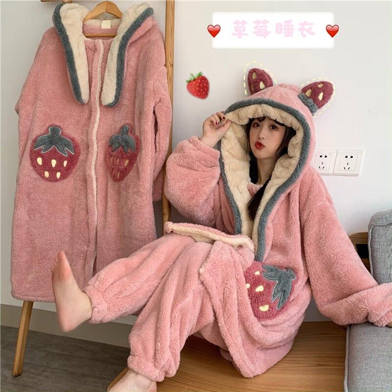 Furry Pajamas Lady Autumn Winter With Hat Nightdress Robe Cute Strawberry Fluffy  Homewear Set One Piece Pajamas For Women F2473