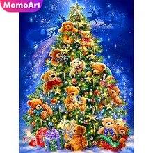 MomoArt Diamond Painting Cartoon Mosaic Christmas Tree Embroidery  Full Square Rhinestone Handwork Home Decoration