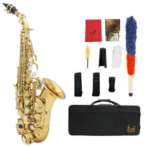 Soprano Saxophone Belt-Brush Case LADE Wind-Instrument Bend Bb Brass with Gloves Cleaning-Cloth