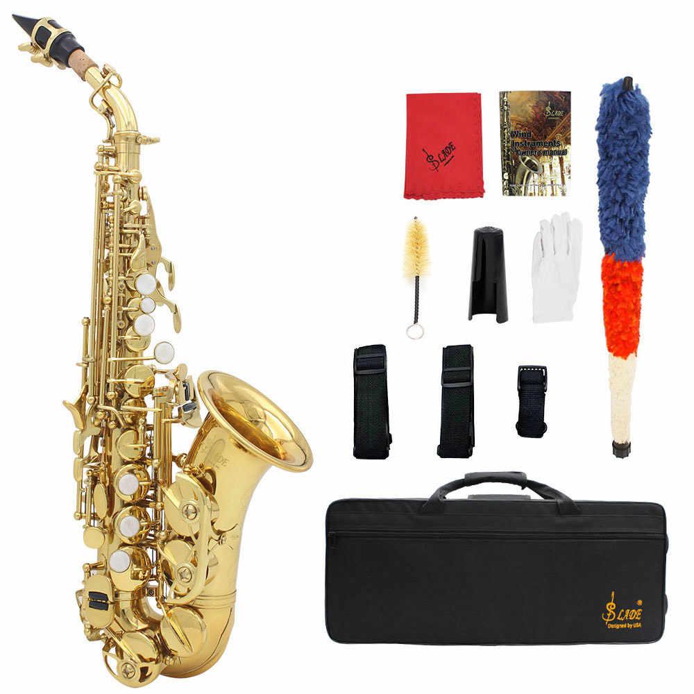 LADE mosiądz złoty Carve wzór Bb zginać Althorn saksofon sopranowy saksofon Instrument dęty z futerałem rękawice ściereczka do czyszczenia taśmy szczotki