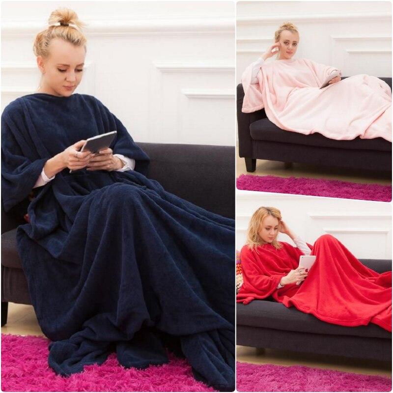 Winter Hooded Pocket Blankets Warm Soft Hoodie Slant Robe Bathrobe Pullover TV Flannel Fleece Blanket Sweatshirt With SleevesBlankets   -