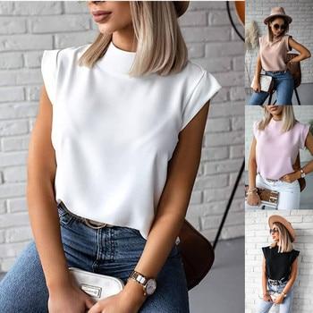 Women Blouse New 2021 Casual Solid Korean Shirt Elegant Slim Stand Collar Short Sleeve Women's Tops Blusa Mujer Female Blusas 1