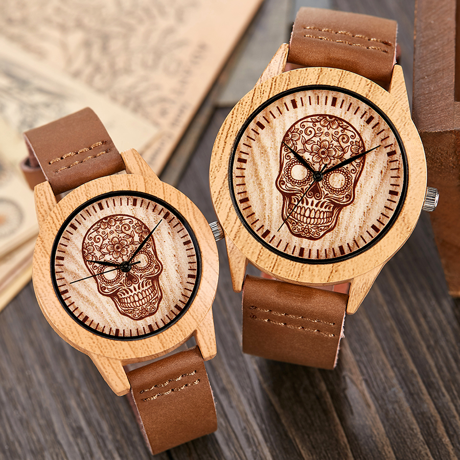Skull Imitation Wood Watch Men Women Couple Wristwatch Imitate Wooden Watches Acrylic Case Lover Wrist Clock Skull Reloj Uhr
