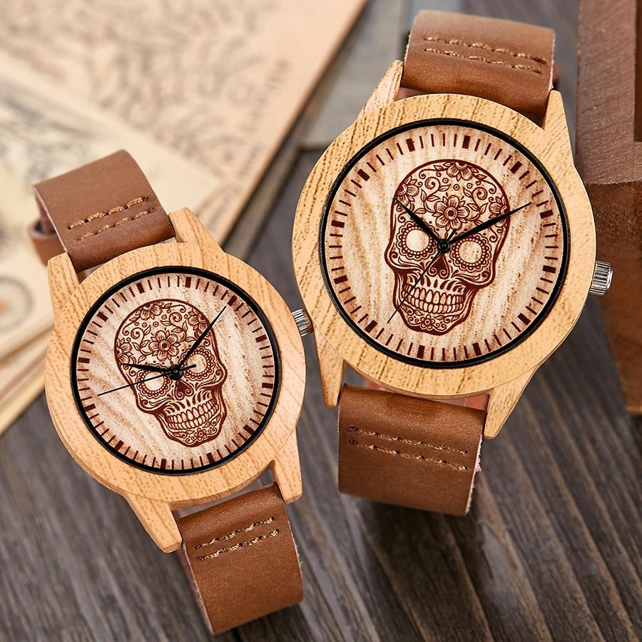 Skull Imitation Wood Watch Men Women Couple Wristwatch Imitate Wooden Watches Acrylic Case Lover Wrist Clock Skull Reloj Uhr