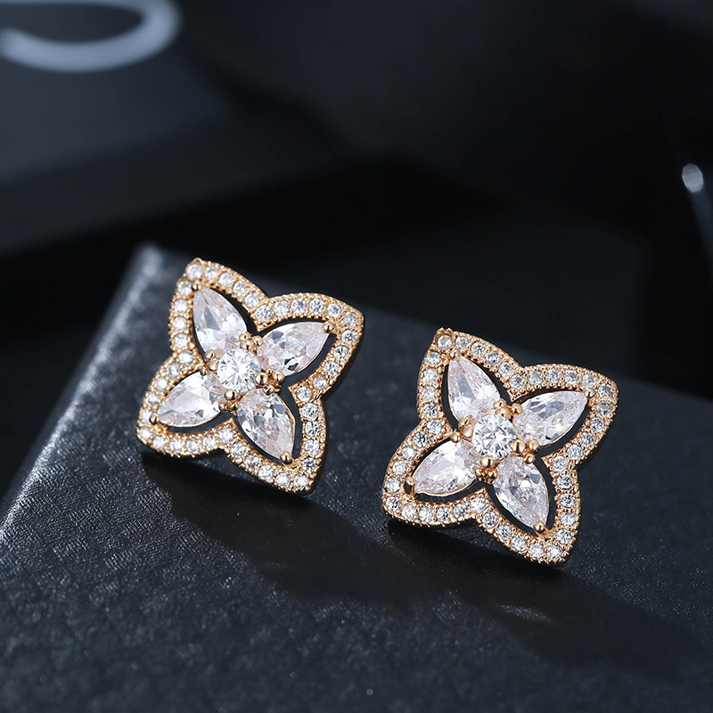 Korea Fashion Geometric Earrings for Women Luxury Small Stud Earrings Cubic Zirconia Brand Earings Wedding Jewelry kolczyki Z280