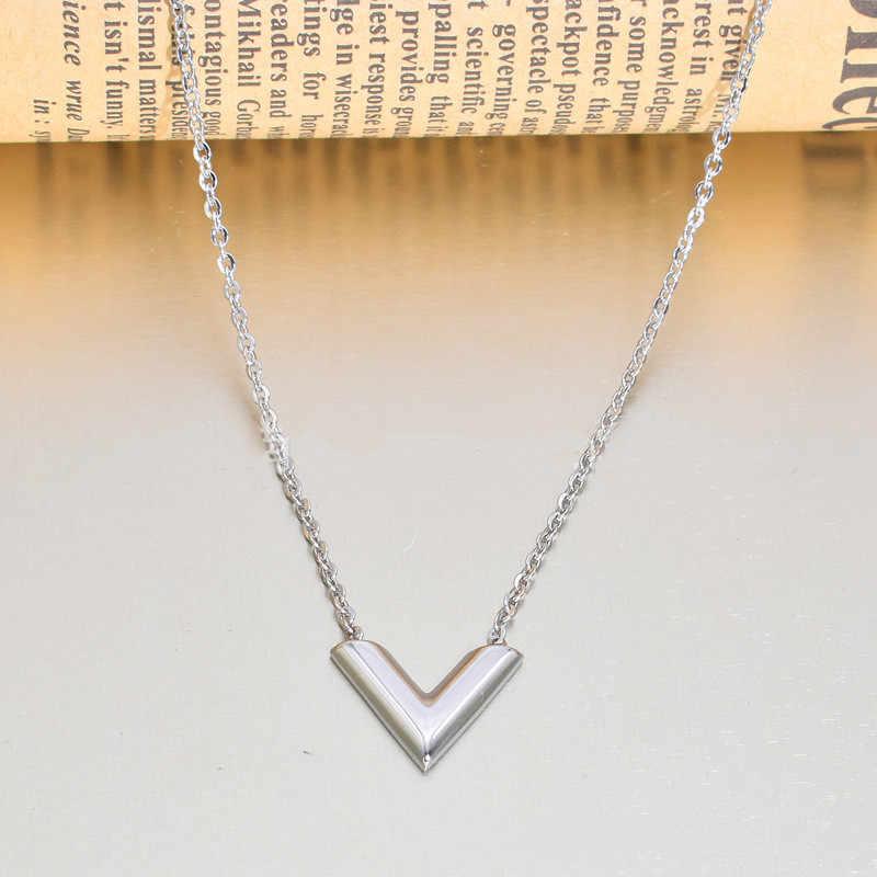 Simple V COLLAR COLGANTE con letra plata/oro nombre inicial clave cadena collar de la amistad de regalo