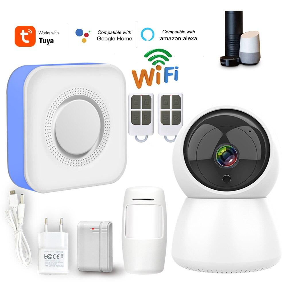 WiFi Home Burglar Alarm System 433MHz Wireless Strobe Siren Alarm Compatible With Alexa Google Home IFTTT Tuyasmart Smart Life