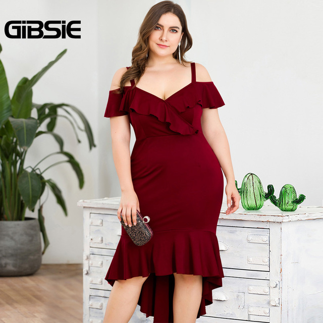 GIBSIE Plus Size Wine red Elegant V-neck Strap Long Evening Party Dress Summer Women Ruffle High Waist Bodycon Mermaid Dresses