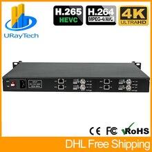 1U Rack 4ช่องH.265 H.264 IP SDI Video Streaming Decoder SRT IPกล้องตัวถอดรหัสถอดรหัสP2P RTSP UDP M3U8 HLS SRT