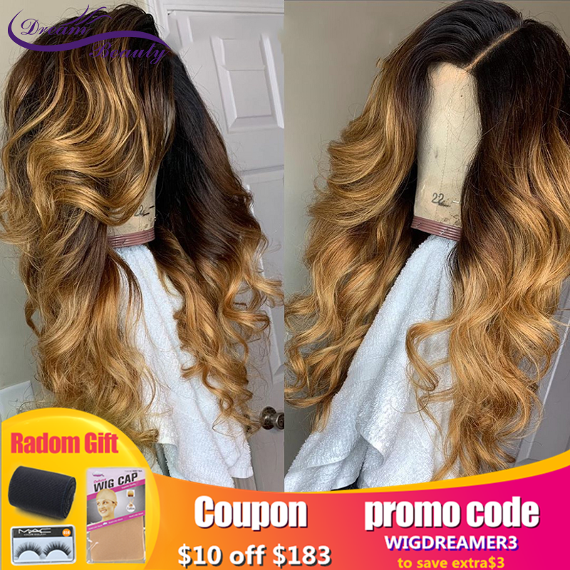 Dream Beauty Highlights Human Hair 13*6 Lace Frontal Wig 8-24inch Brazilian Remy Wavy Lace Front Human Hair Wigs