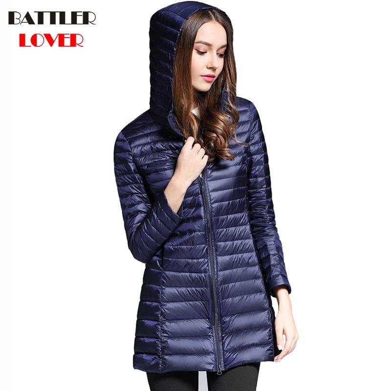 2019 Winter Womens Ultra Light Down Jacket 90% Duck Down Hooded Long Jackets Long Sleeve Coat Women Parka Female Portabl Outwear