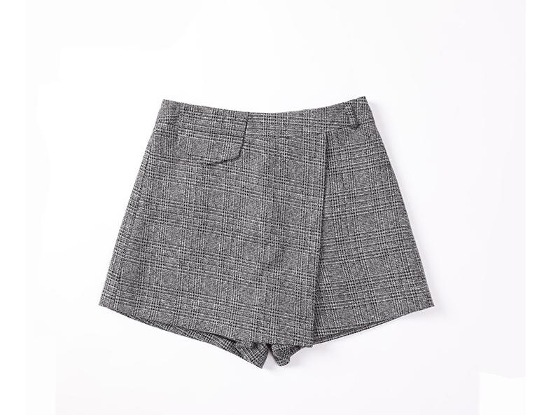 H0bf8aa6e757e4b48aaa08291f4f0f04eB - Irregular Woolen Plaid Shorts Skirts For Women Atumn Winter Office Short Women Plus Size Booty Shorts Feminino