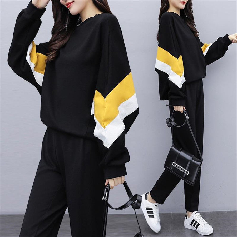 Tracksuit For Women 2020 Spring Autumn Large Size Crop Tops+ Pants Suit Female Casual Plus Size Fashion Two Piece Sets M-5XL
