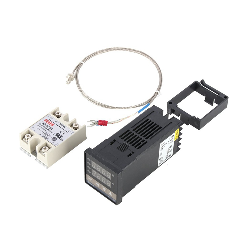 EINFACH-Digital PID Temperatur Controller Kit Dual-Digital-Display REX C100 Thermostat + 40Da SSR Relais + K Typ sonde Sensor
