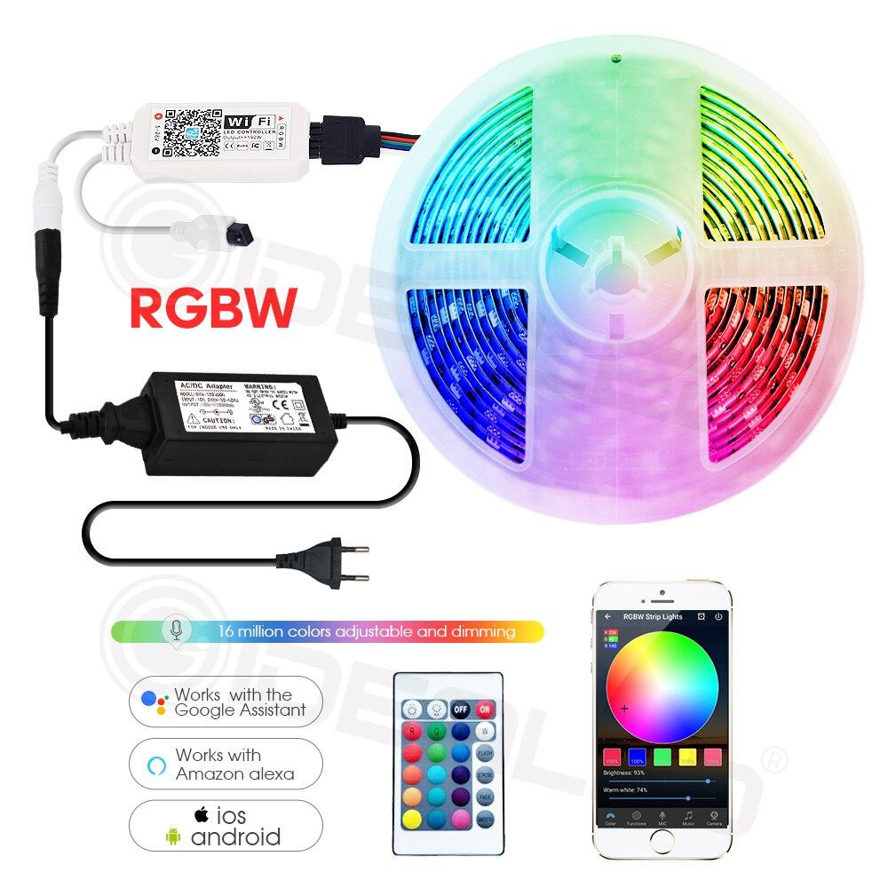 Wifi intelligente ha condotto la striscia luci RGBW IP65 Nastro impermeabile luci WIFI controller di Musica Da Alexa Eco più il controllo vocale Google casa