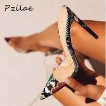Pzilae/Новинка; женские шлепанцы с острым носком; пикантные прозрачные женские шлепанцы из ПВХ со змеиным принтом; летняя модная обувь на высоком каблуке для вечеринки