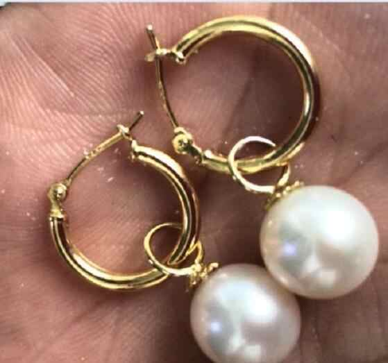 Jewelry Pearl Necklace 14k/20 GOLD 7-8mm perfect round white Australia south sea pearl dangle earring Free Shipping