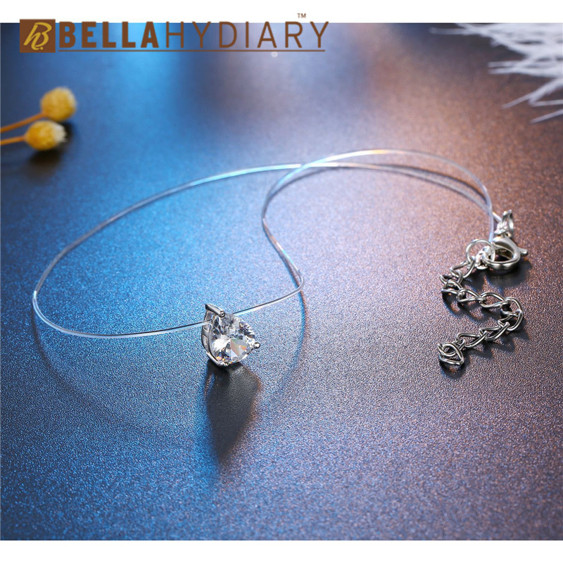 Trendy WaterDrop Transparent Fishing Line Necklace Silver Invisible Chain Necklaces Pendants Rhinestone Choker Necklaces Collier (2)