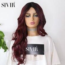 Sivir perruque rouge résistant à la chaleur synthétique invisible peau + perruque de dentelle 26 pouces avec délié naturel longues perruques ondulées pour les femmes noires