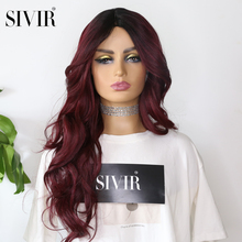 Sivir Red Wig Heat Resistant Synthetic invisible skin+Lace Wig 26inch With Natural Hairline Long Wavy  Wigs For Black Women
