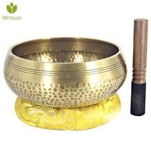Звуковая чаша Будды из латуни, чаша цинского Будды из латуни, тибетская чаша для йоги, медитации, чаша для шантажа, санскрит, Поющая чаша из л...