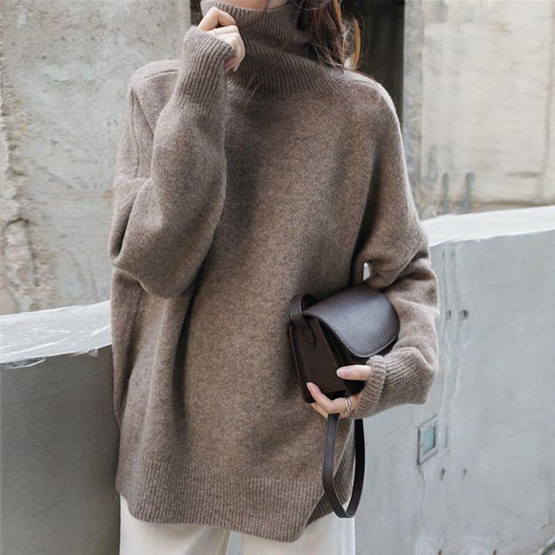 Осенне-зимний женский свитер с высоким воротником, шерстяные теплые пуловеры оверсайз, свитер, кашемировый свободный джемпер с длинным рукавом