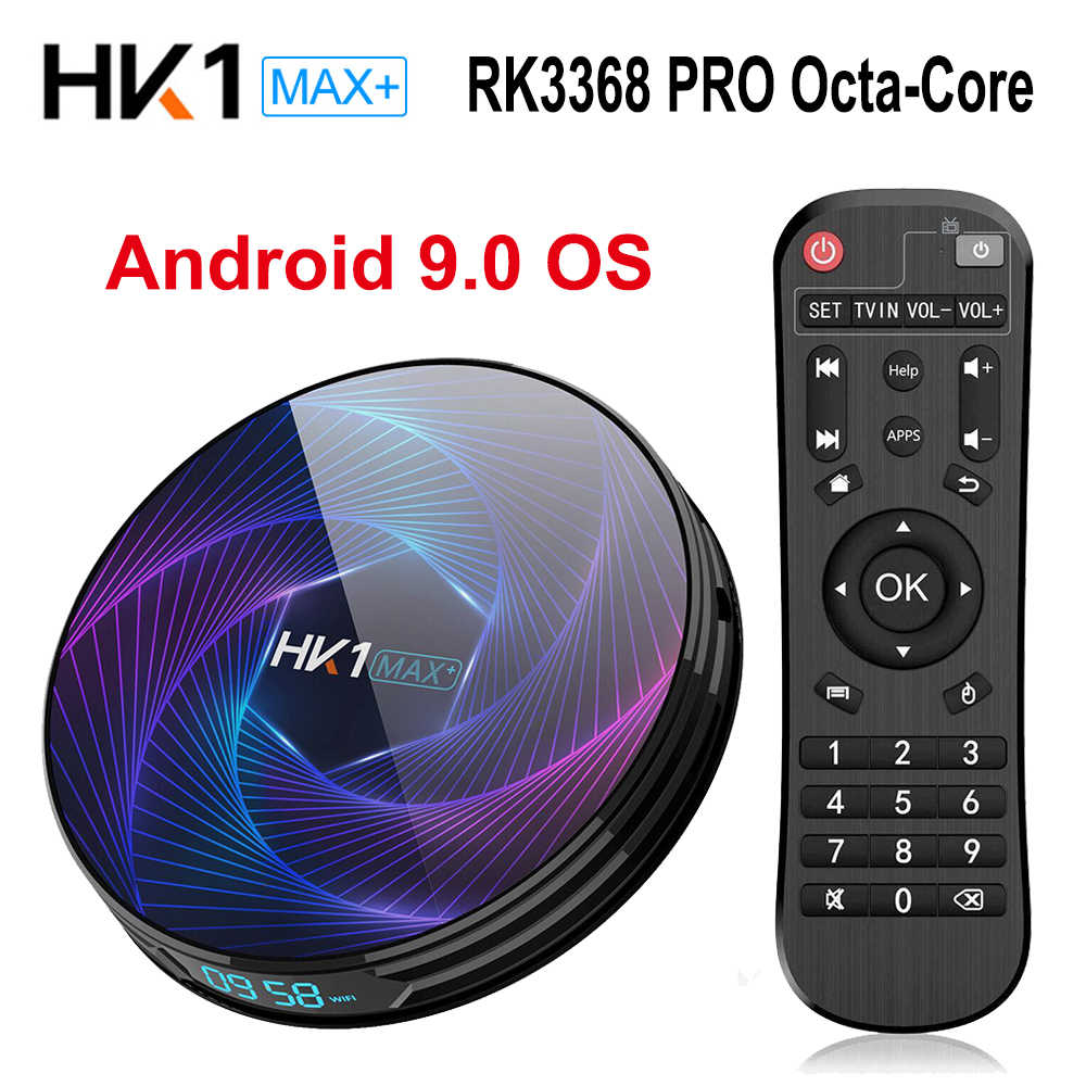 Nowy HK1 MAX Plus Android 9.0 Smart TV Box RK3368 Octa Core 4GB 128GB 64GB 2.4G/5G Wifi 4K zestaw odtwarzacza multimedialnego Top Box PK HK1 MAX