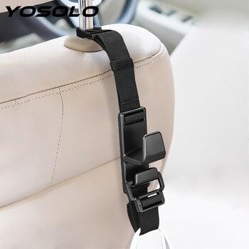 Yoسولو 1 قطعة العالمي مقعد السيارة الخلفي هوك قابل للتعديل السيارات السحابة كليب كيس بقالة حامل شماعات سيارة مسند الرأس شماعات