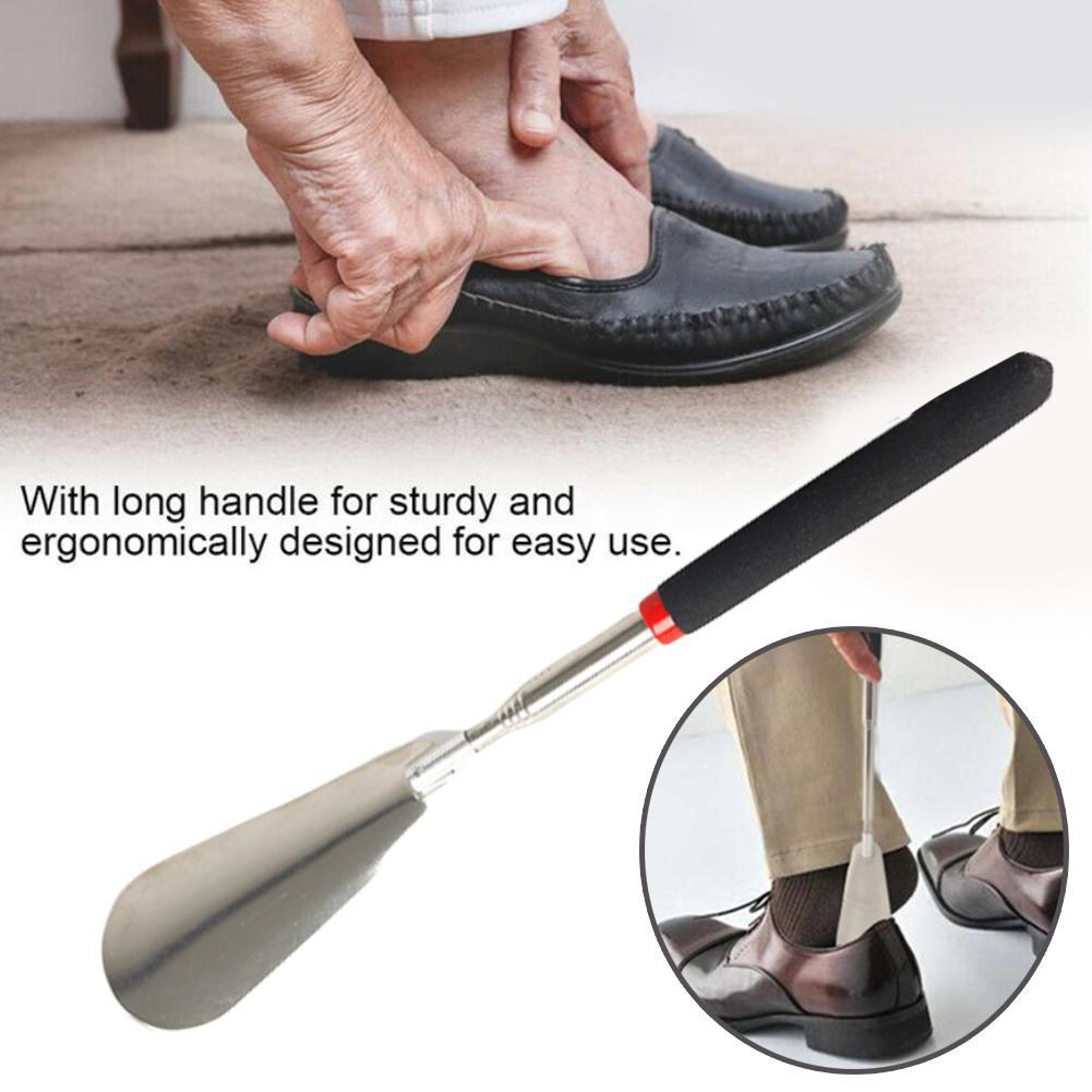 Long Handle Shoe Horns Flexible Silver Stainless Steel Shoe Horn Stick Professional Shoe Spoon Tool Shoe Lifter Tool
