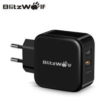 BlitzWolf QC3.0+ 2.4A 30 Вт двойное USB зарядное устройство для мобильного телефона быстрое зарядное устройство адаптер ЕС дорожное настенное зарядное устройство для iphone 8 8 Plus X