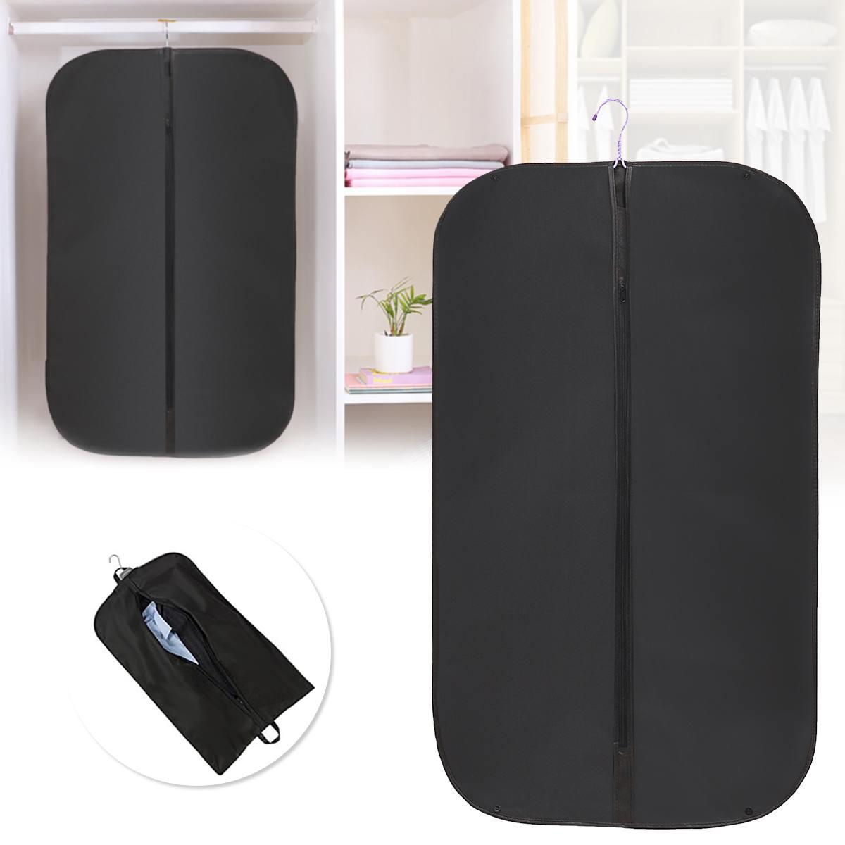 Men Black Dustproof Hanger Coat Clothes Garment Suit Cover Storage Bag Suit Cover Bag For Clothes With Zipper 1Pcs