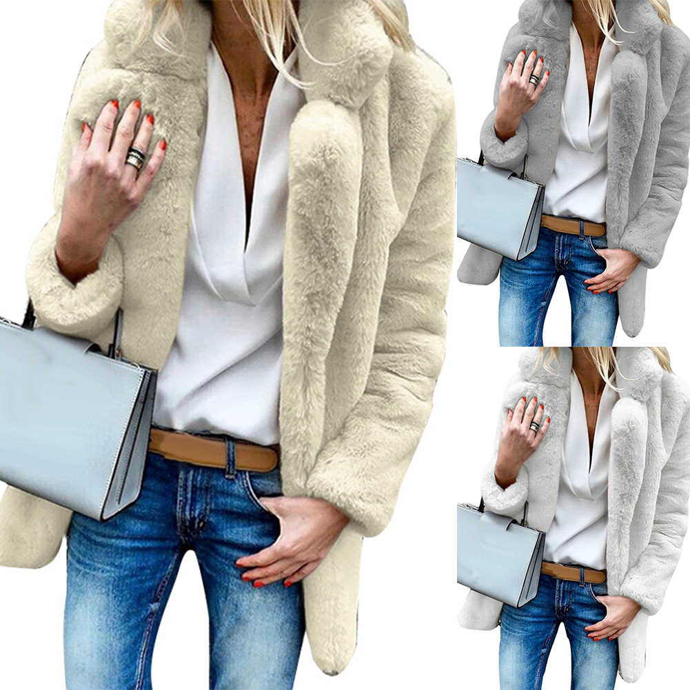 Winter Effen Kleur Dikke Faux Fur Coat Revers Losse Vrouwen Warme Jas Uitloper