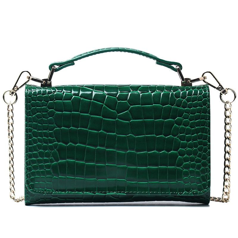 Large Green Genuine Crocodile Clutch Bag Chain Cross Body Bag Crocodile Leather Bags Women Chain Shoulder Bag